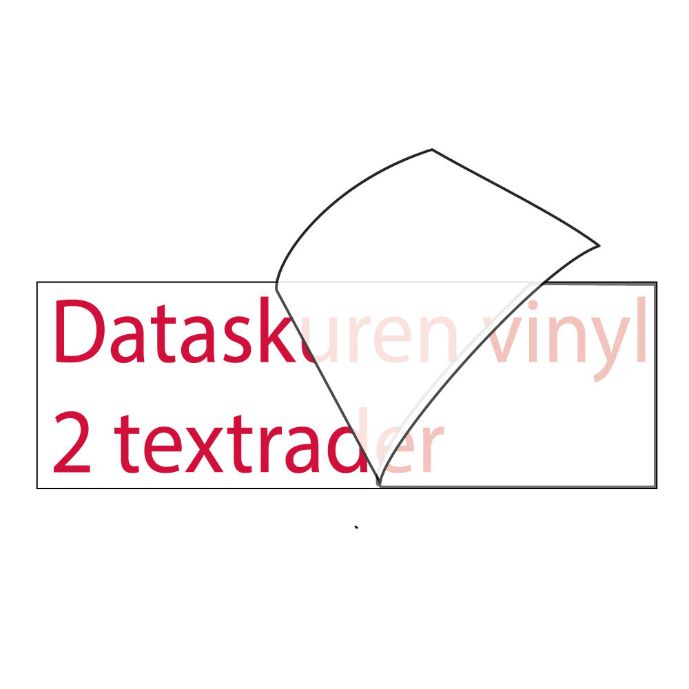 Vinyltext 110x25 cm 2 rader röd