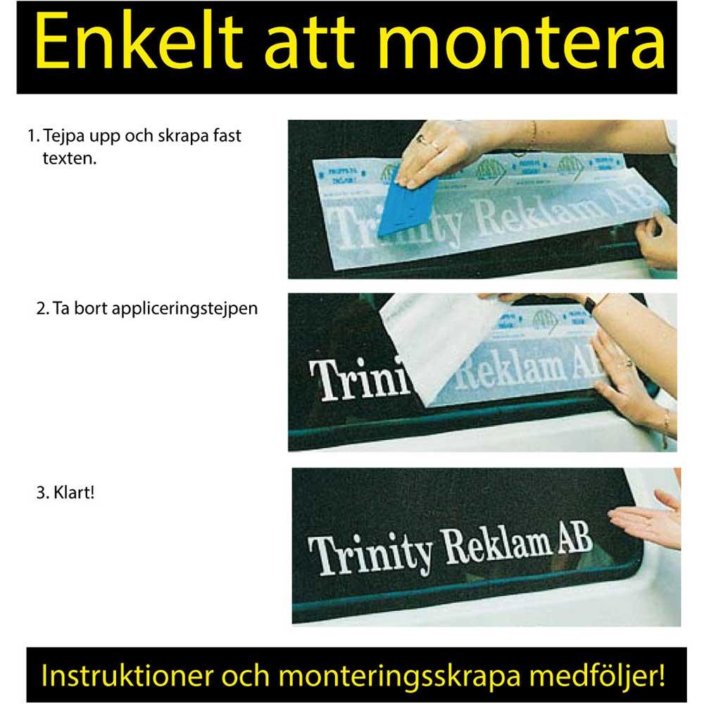 Vinyltext 110x25 cm 2 rader blå