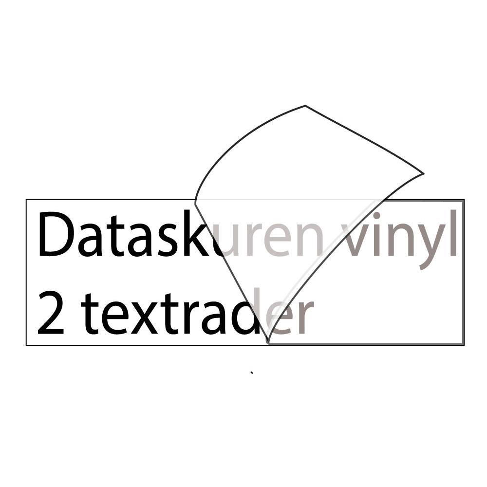Vinyltext 150x30 cm 2 rader svart