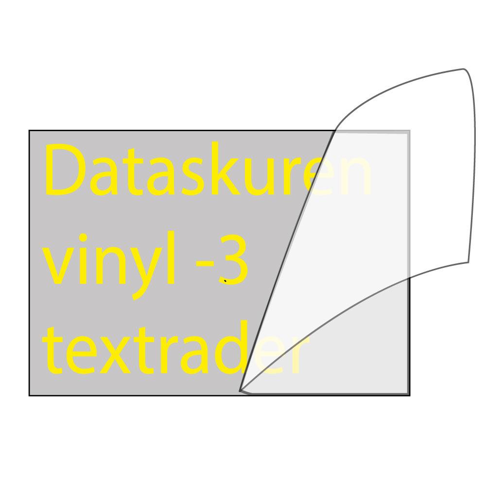 Vinyltext  110x35 cm 3 rader gul
