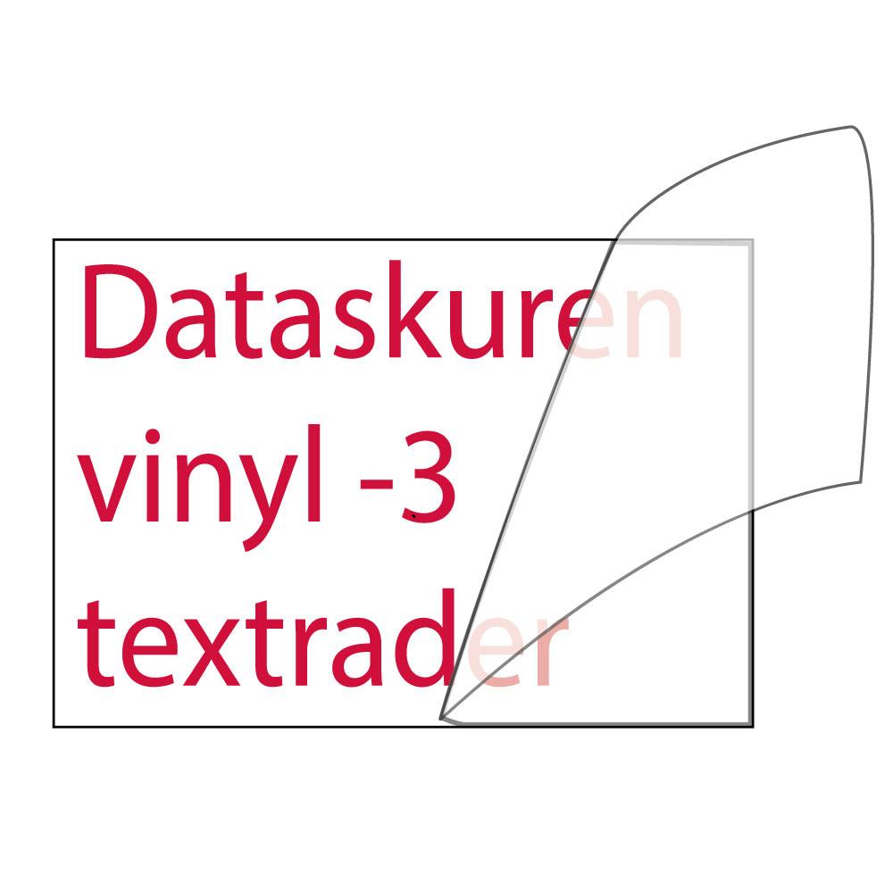 Vinyltext 300x85 cm 3 rader röd