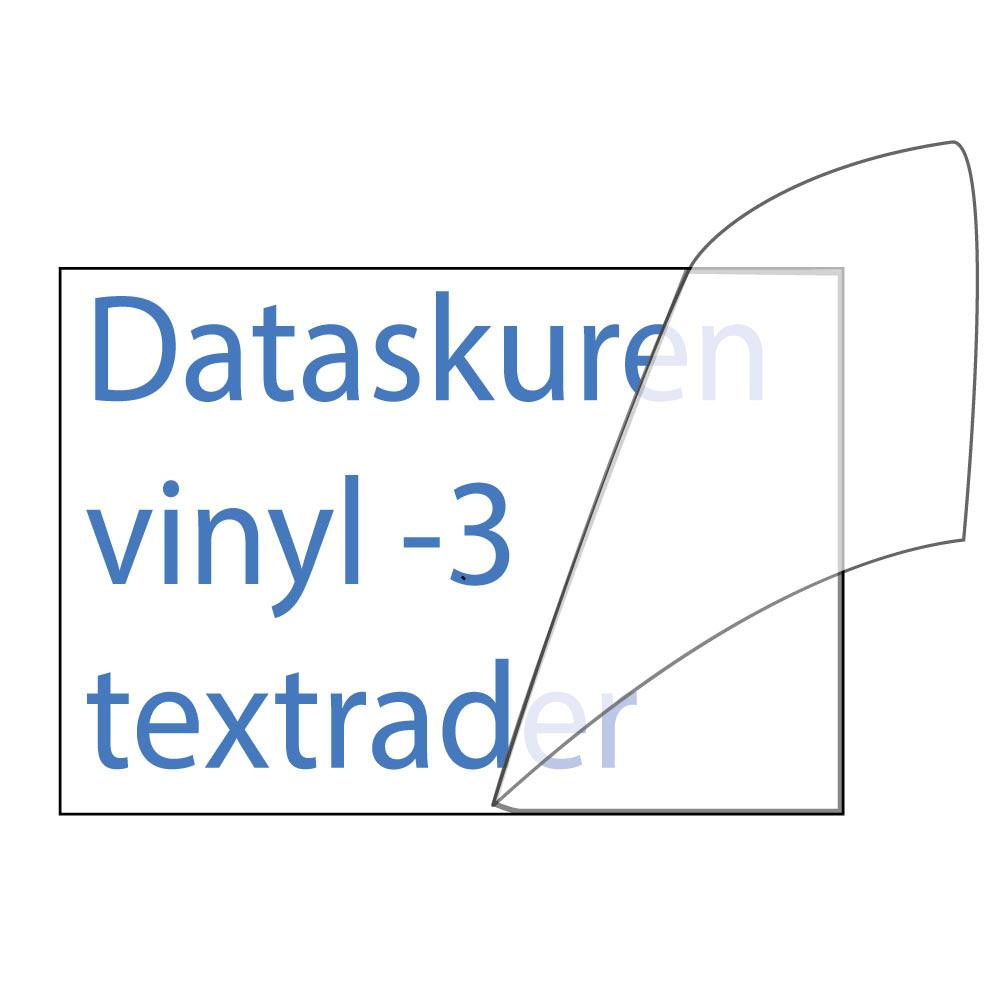 Vinyltext 300x85 cm 3 rader blå