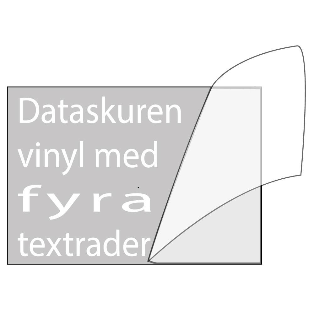 Vinyltext 110x55 cm 4 rader vit