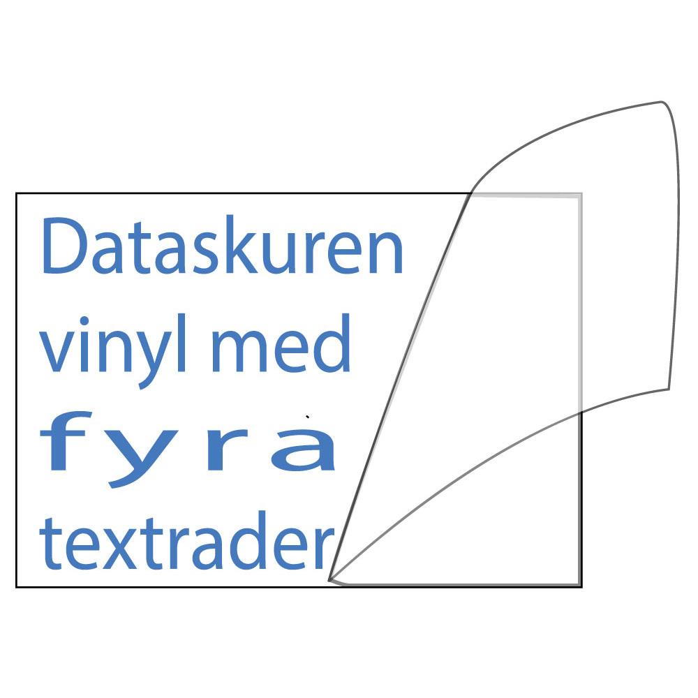 Vinyltext 110x55 cm 4 rader blå