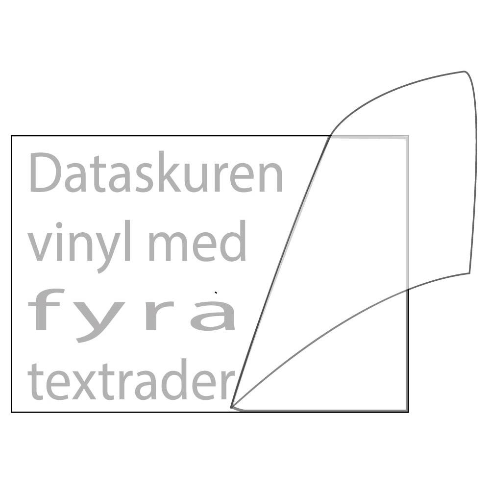 Vinyltext 110x55 cm 4 rader grå