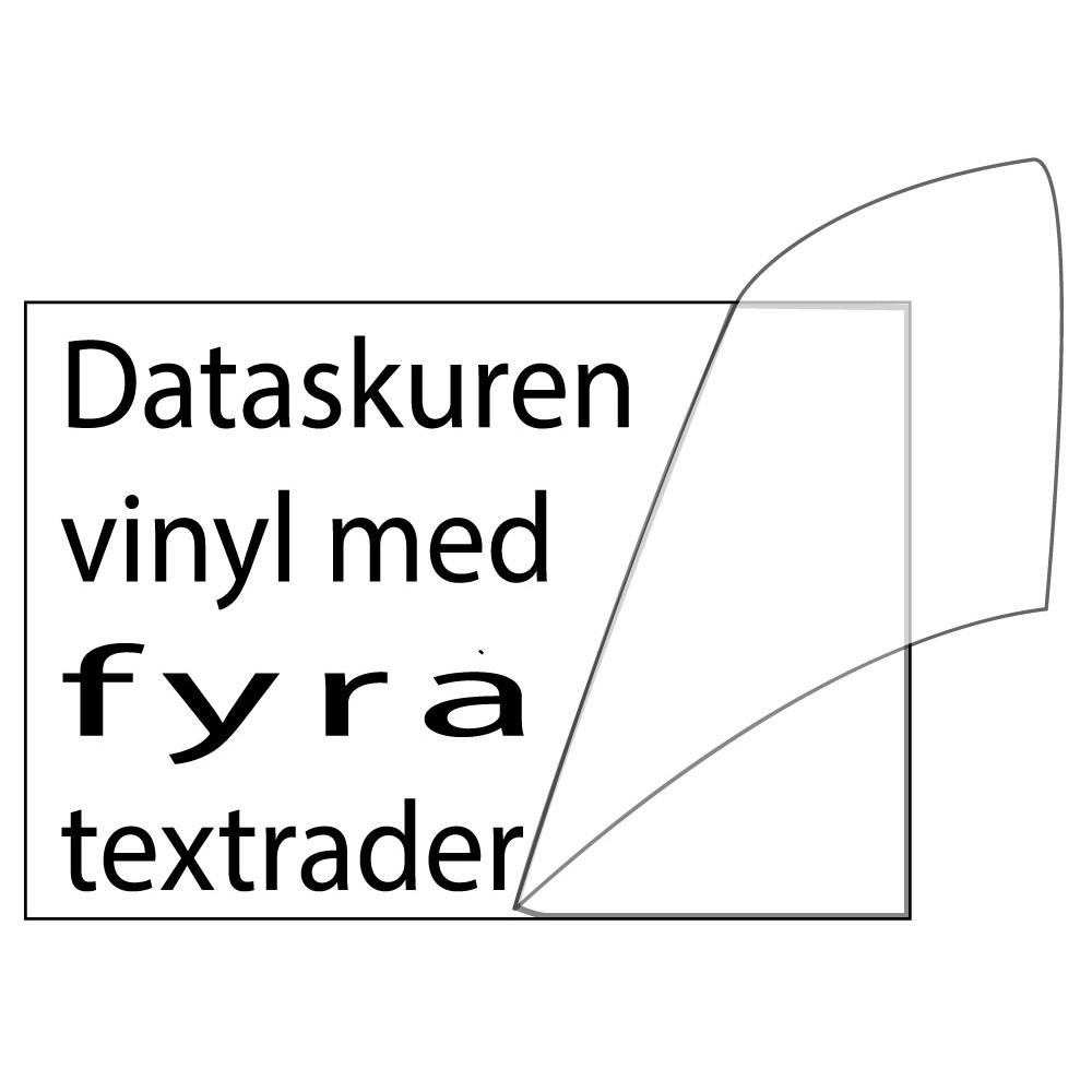 Vinyltext 300x100 cm 4 rader svart