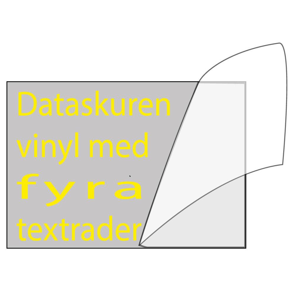 Vinyltext 400x115 cm 4 rader gul
