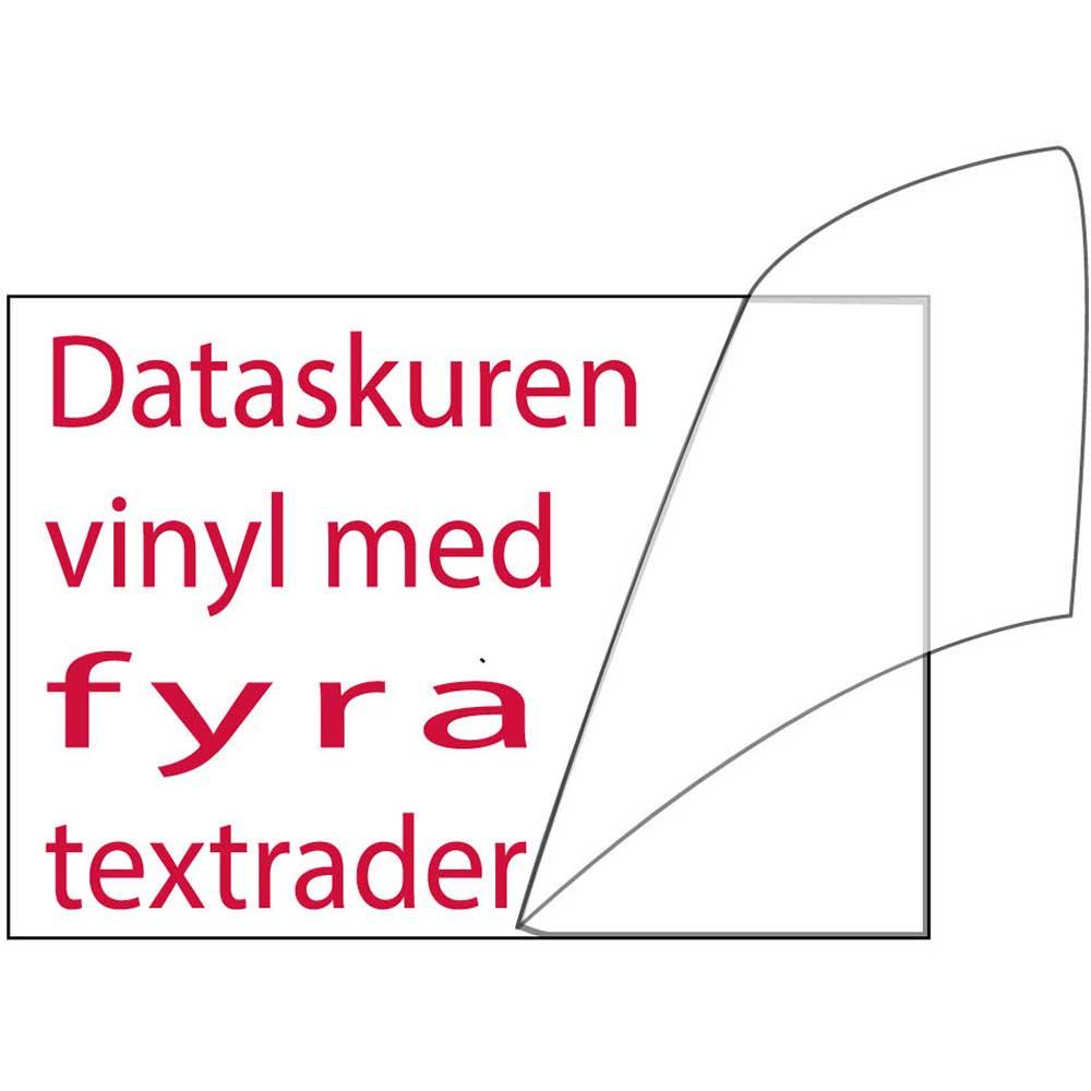Vinyltext 400x115 cm 4 rader röd