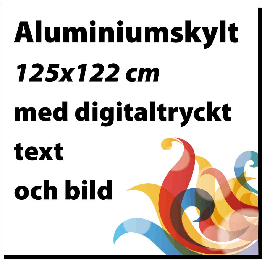 Digitalprintad skylt alu 125x122cm vit