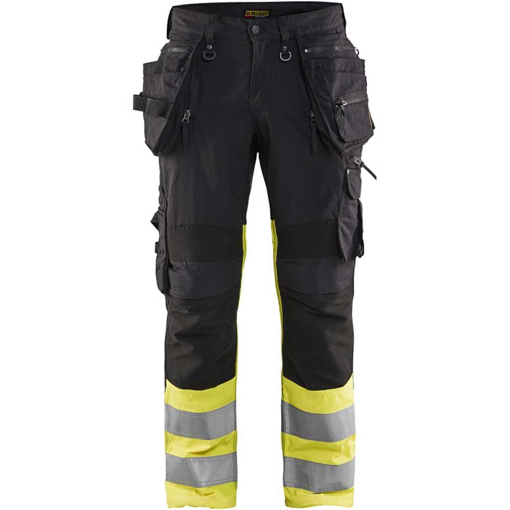Varselbyxa Blåkläder med stretch Klass 1 Svart/Gul