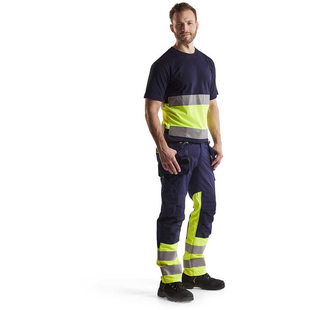Varselbyxa Blåkläder med stretch Klass 1 Marinblå/Varselgul
