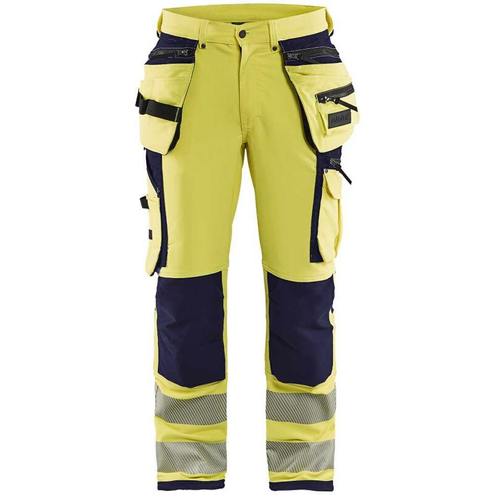 Hivis 4way stretch trouser Varselgul/Marinblå