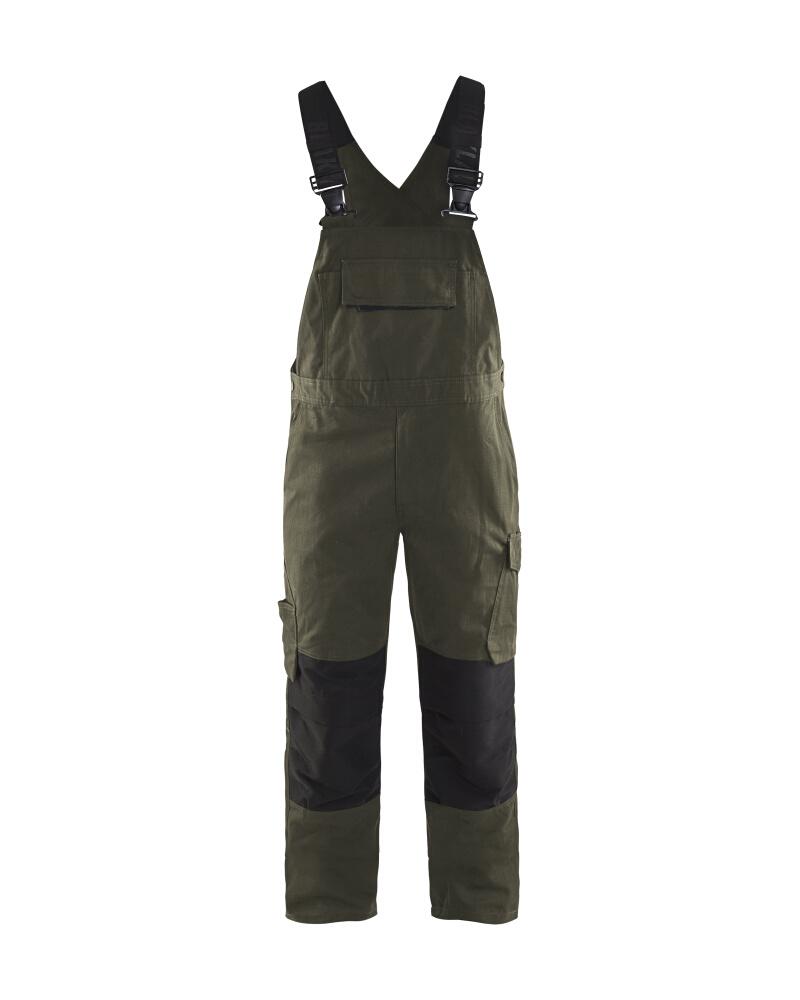 Blåkläder Hängselbyxa med stretch Mörk olivgrön/Svart