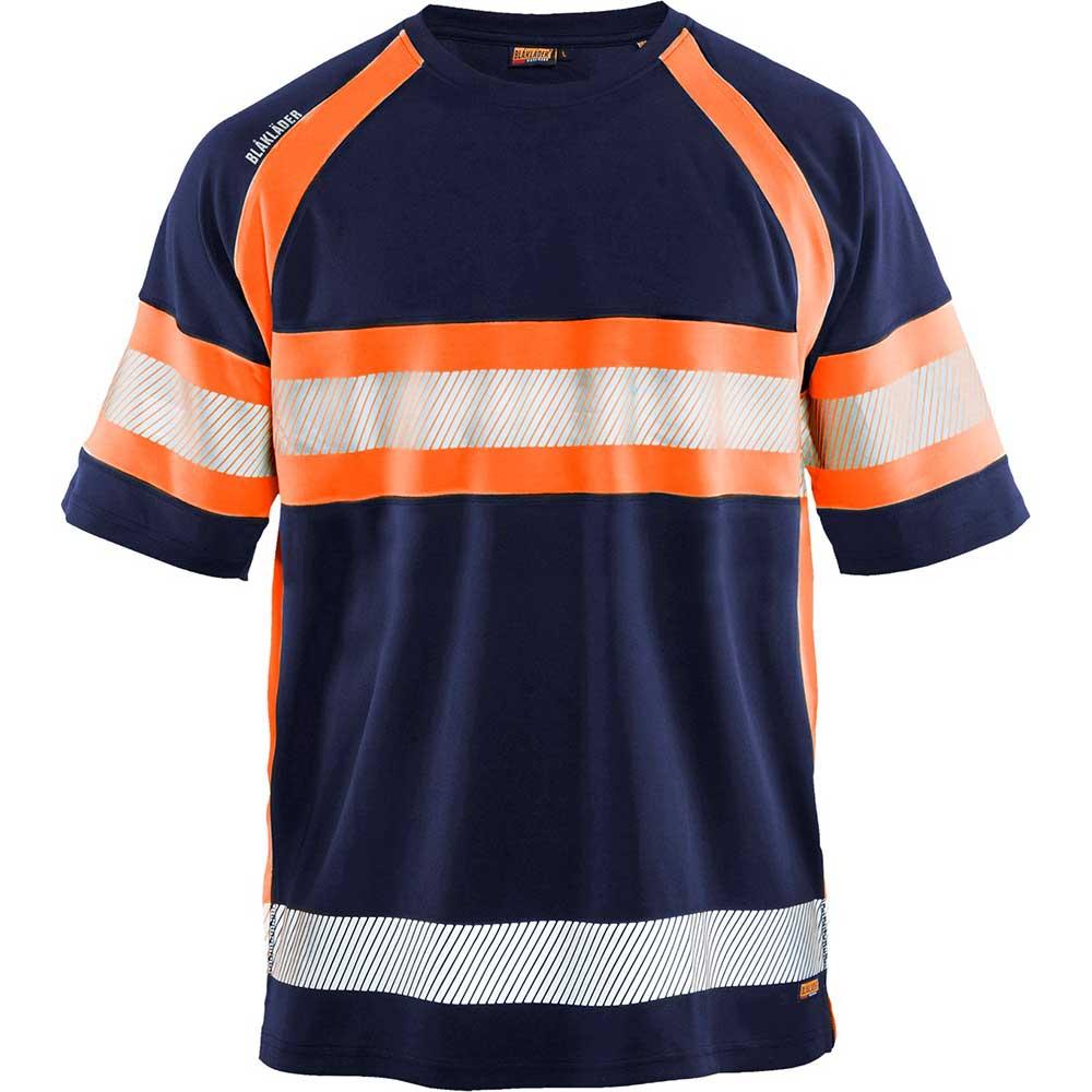 UV-skyddad T-shirt Varsel Kl. 1 Marinblå/orange