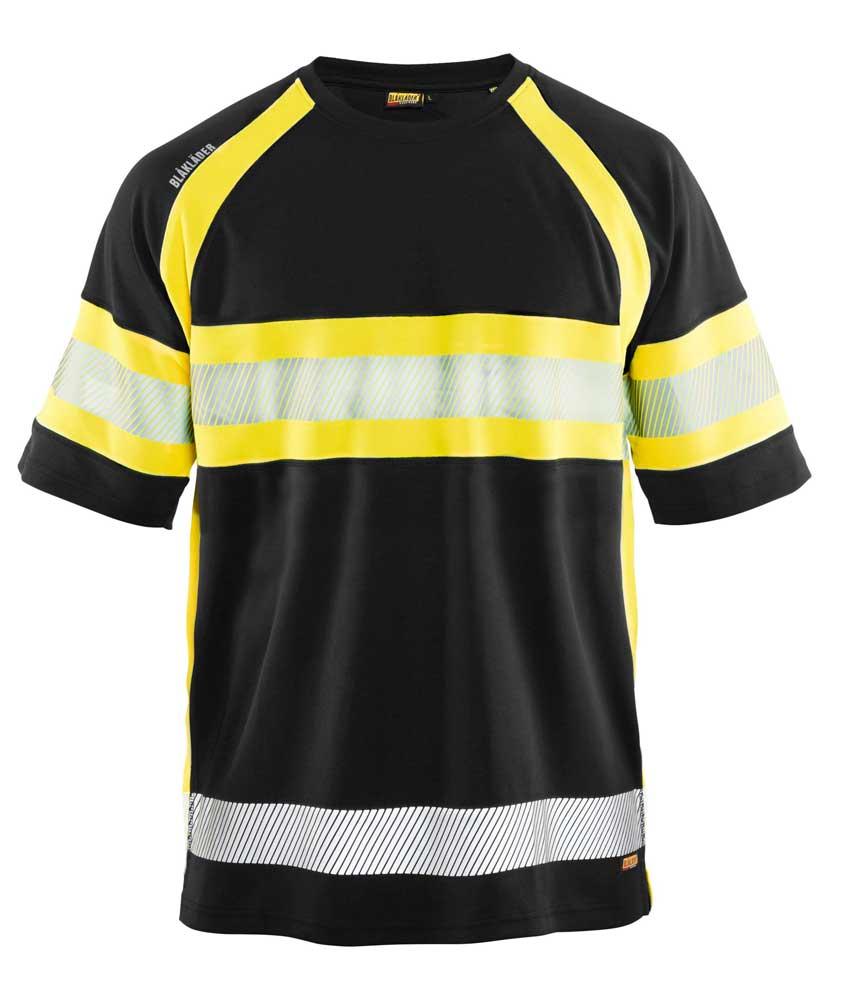 UV-skyddad T-shirt Varsel Kl. 1 Svart/Gul