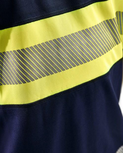 UV-skyddad T-shirt Varsel Kl. 1 Marinblå/Gul