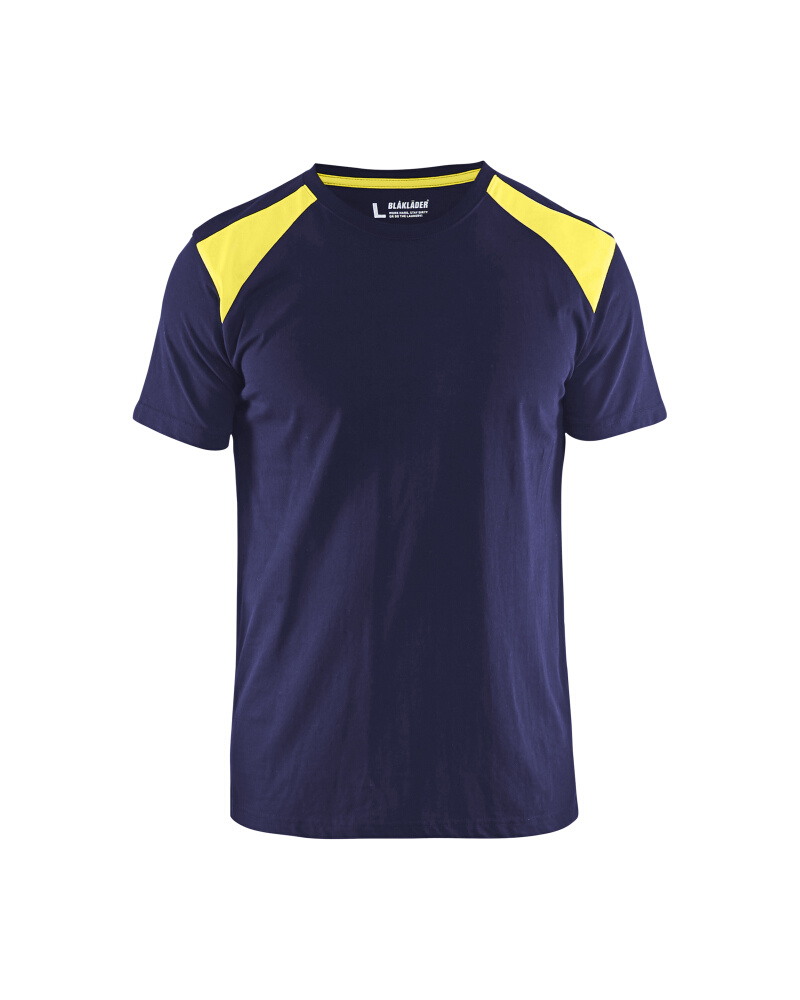 T-Shirt 2-färgad Blåkläder Marinblå/Varselgul