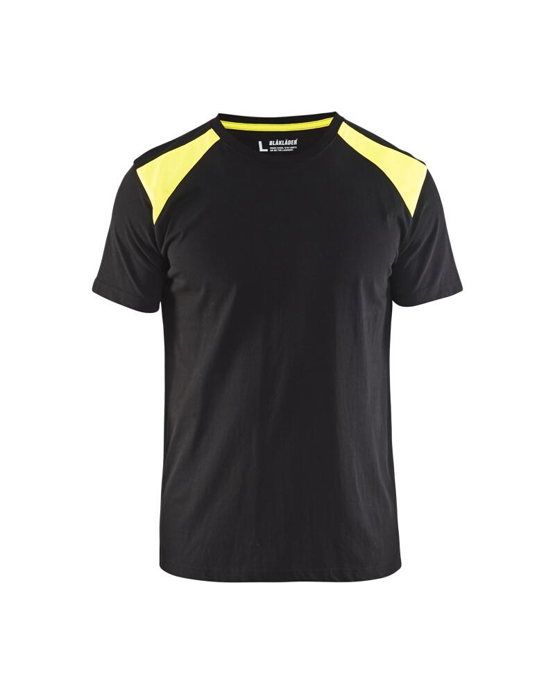 T-Shirt 2-färgad Blåkläder Svart/Varselgul