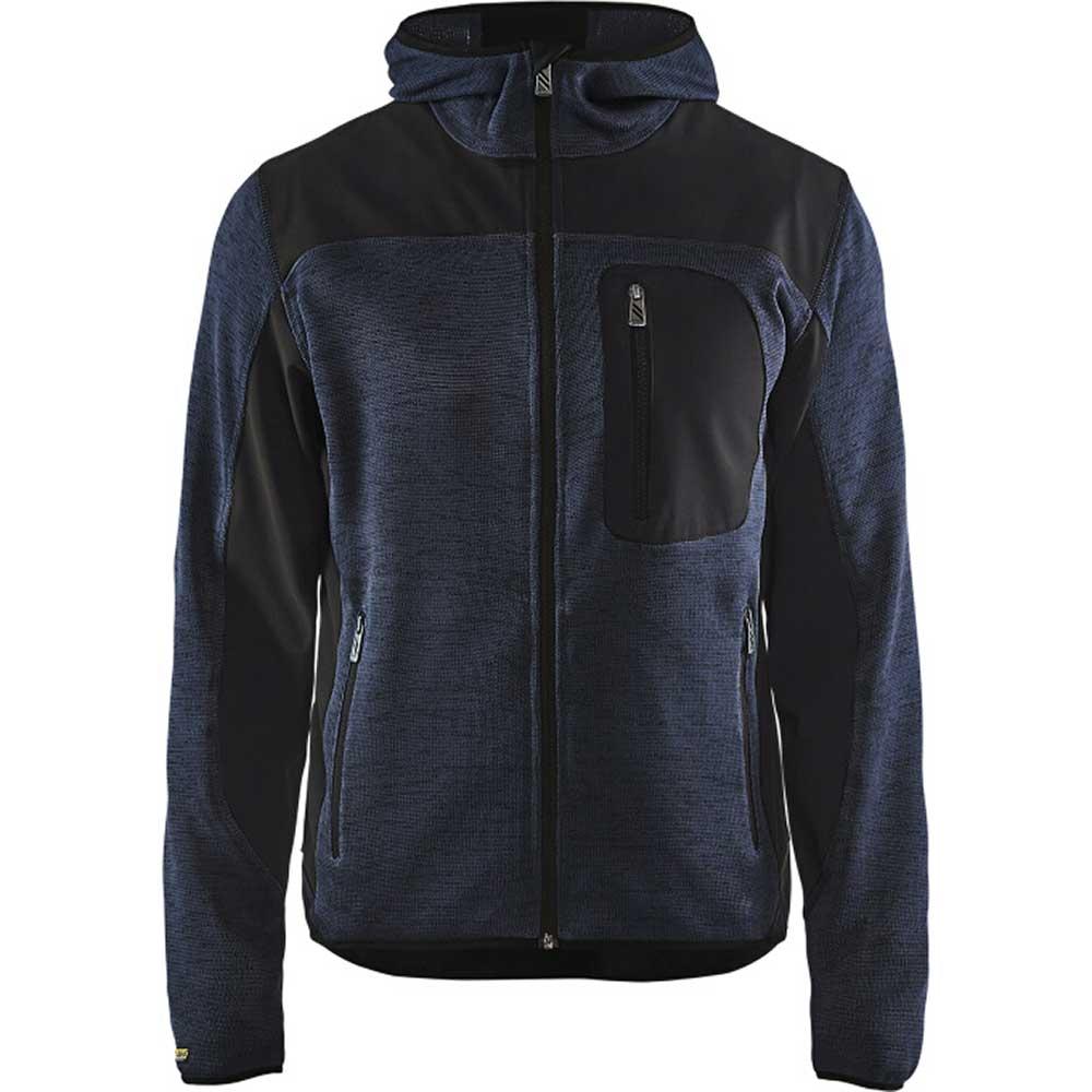 Stickad jacka Mörk marinblå/Svart