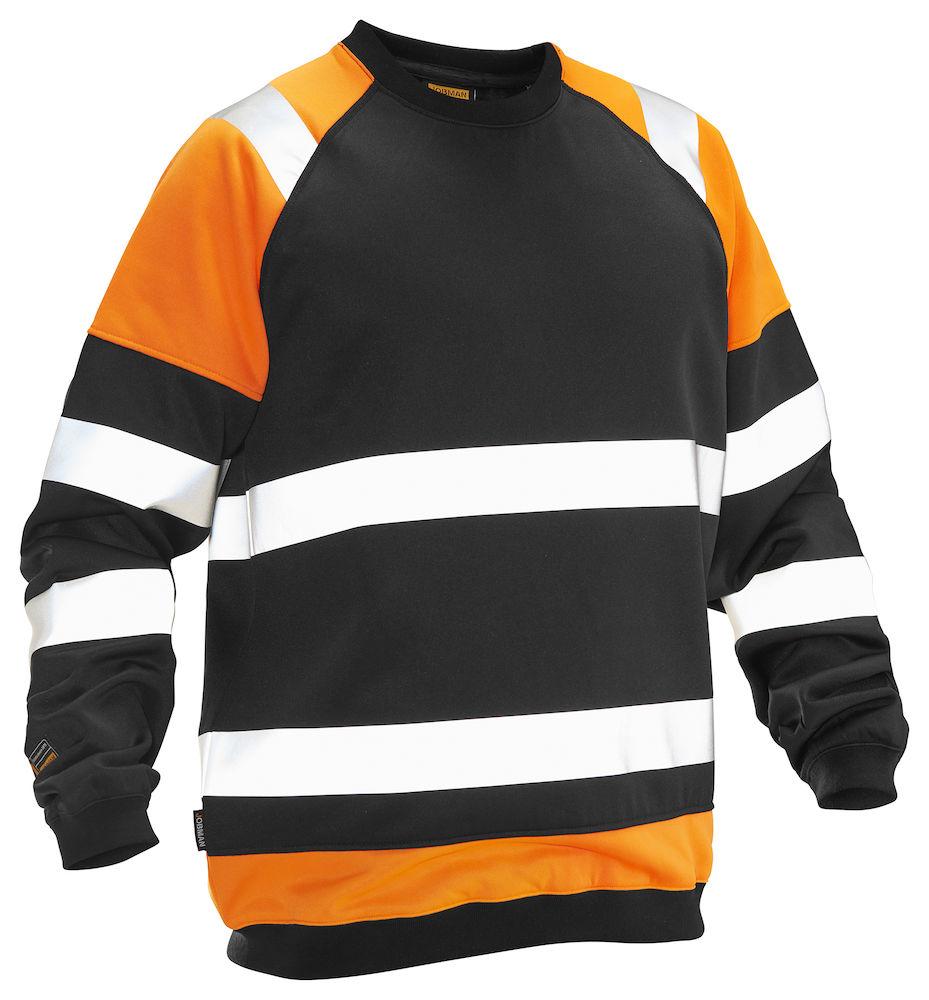 Jobman Sweatshirt Varsel svart/orange
