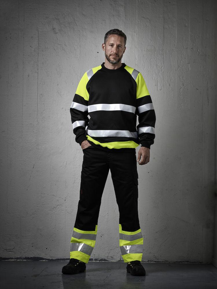 Jobman Sweatshirt Varsel svart/gul