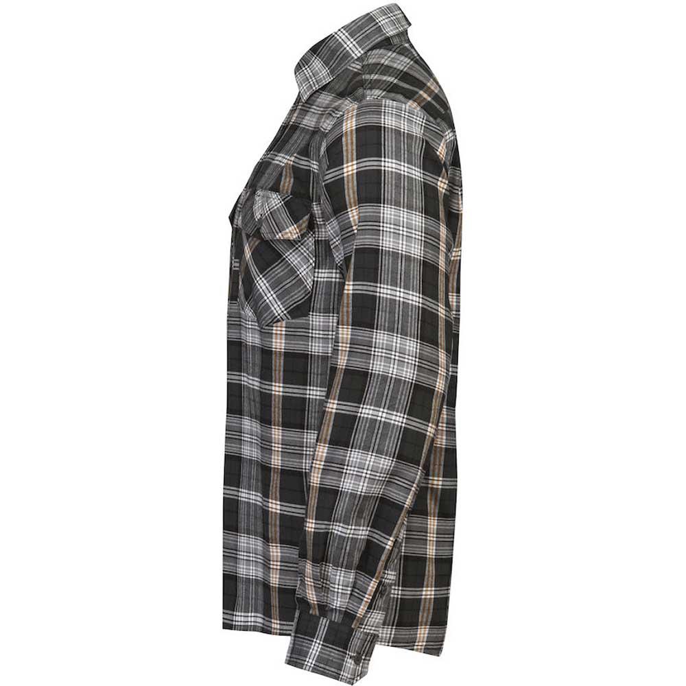Flanellskjorta Jobman mörkgrå/orange