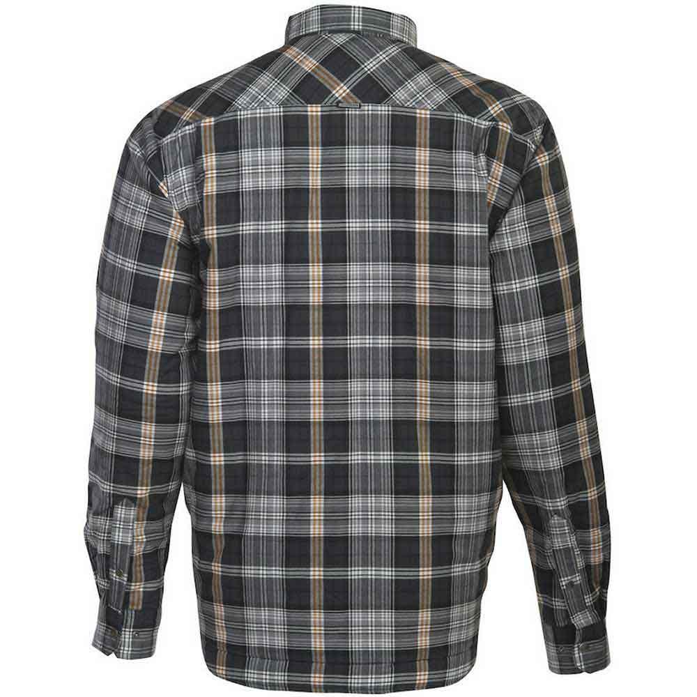 Flanellskjorta Quiltfodrad mörkgrå/orange