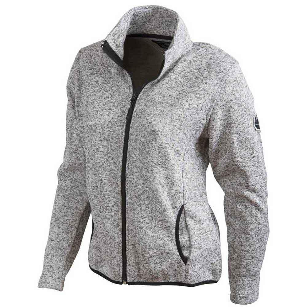 Dam Stickad Fleece  ljusgrå
