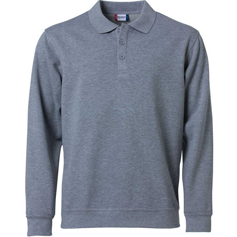 Basic Polo Sweater gråmelerad