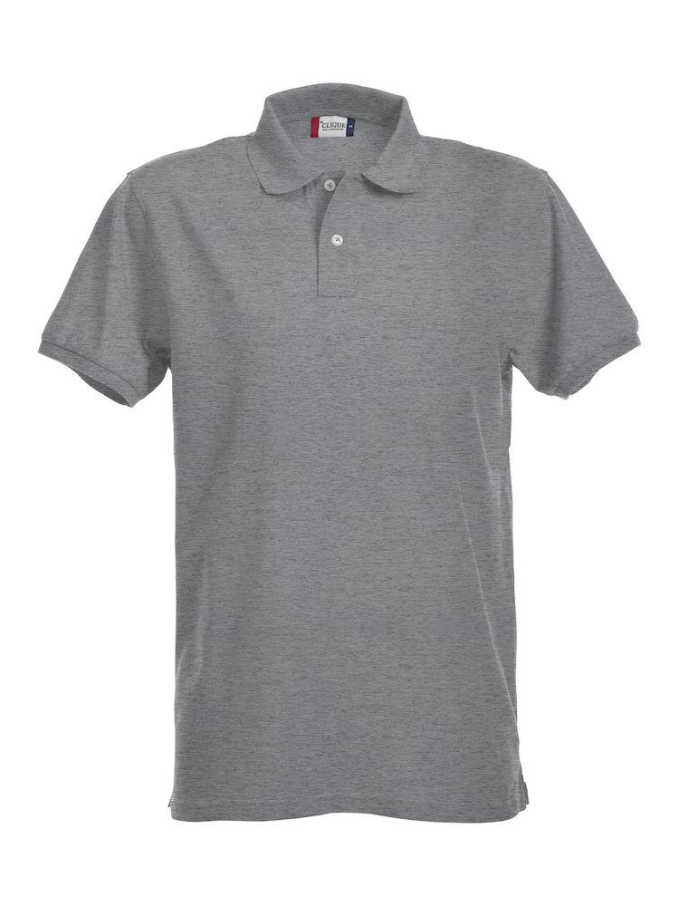 Premium Polo Herr gråmelerad