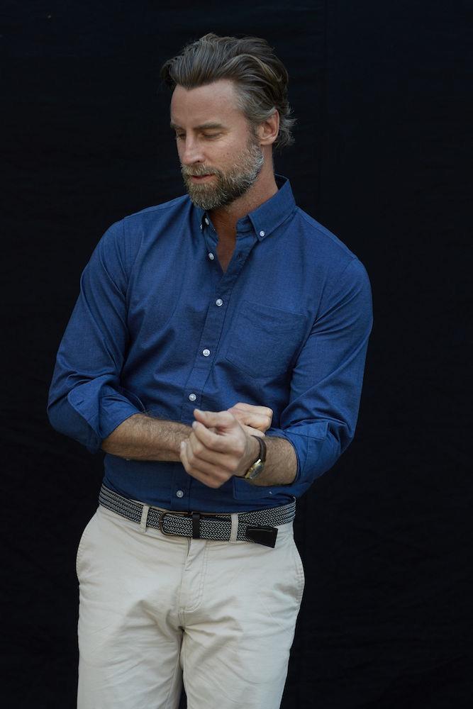 Hansville Shirt Men Blue Oxford