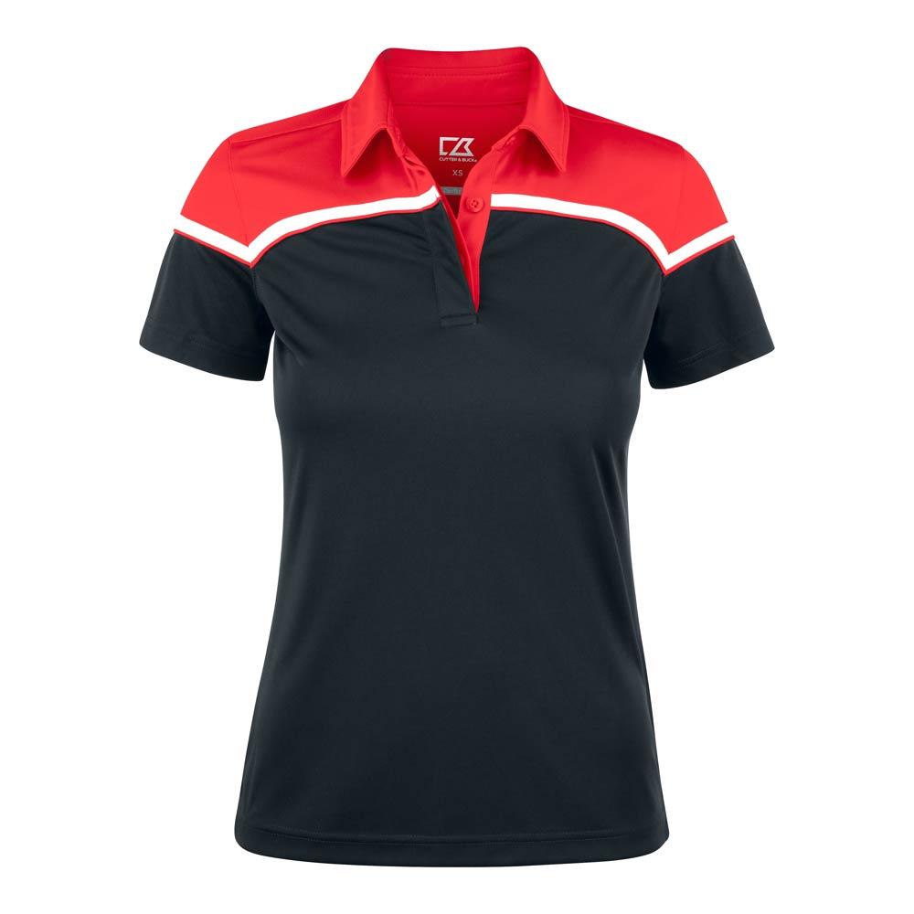 Seabeck Polo Ladies Black Svart/röd