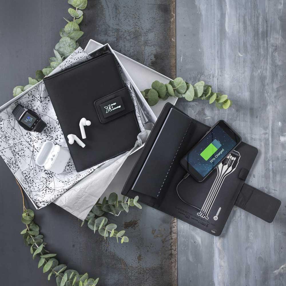 SCX light-up A5-anteckningsbok med powerbank