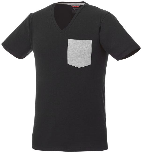 T-shirt Gully V-Neck Man Svart, Grå melange
