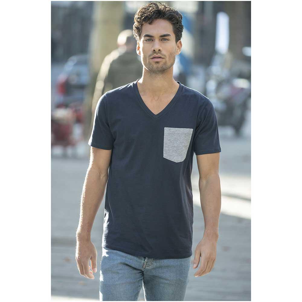 T-shirt Gully V-Neck Man Grå melange, Marinblå