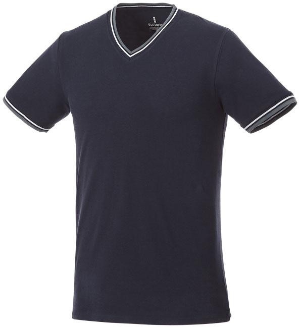 T-Shirt Elbert V-neck Piké Man Marinblå, Gråmelange, Vit
