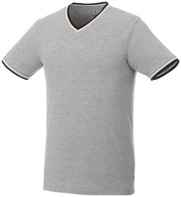 T-Shirt Elbert V-neck Piké Man Gråmelange, Marinblå, Vit
