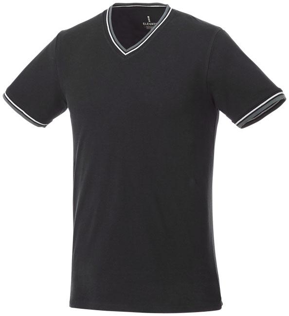 T-Shirt Elbert V-neck Piké Man Svart, Gråmelange, Vit