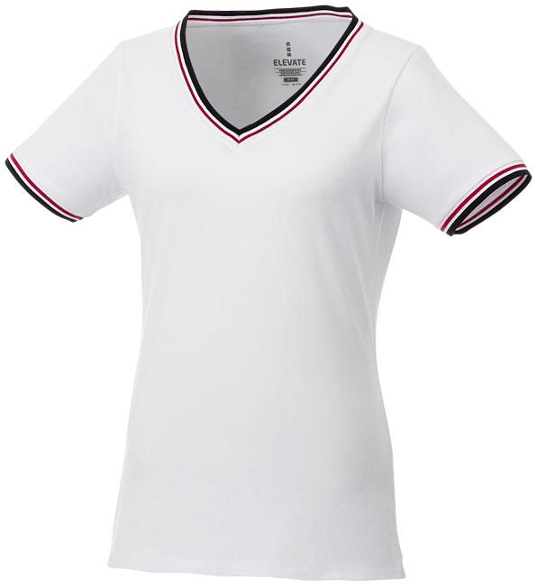 T-Shirt Elbert V-neck Piké Dam vit,marinblå,röd