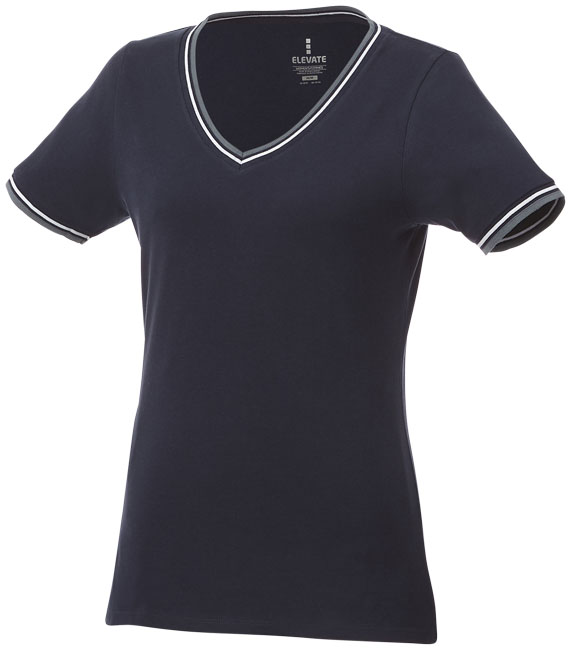 T-Shirt Elbert V-neck Piké Dam marinblå,gråmelange,vit