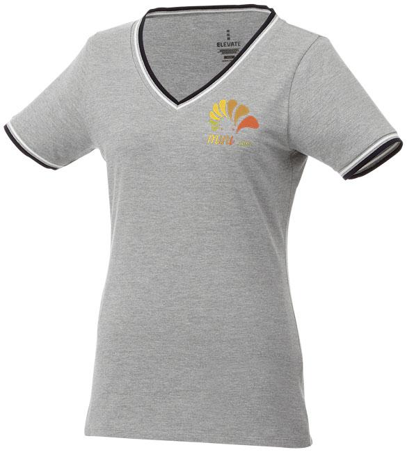 T-Shirt Elbert V-neck Piké Dam gråmelange,marinblå,vit
