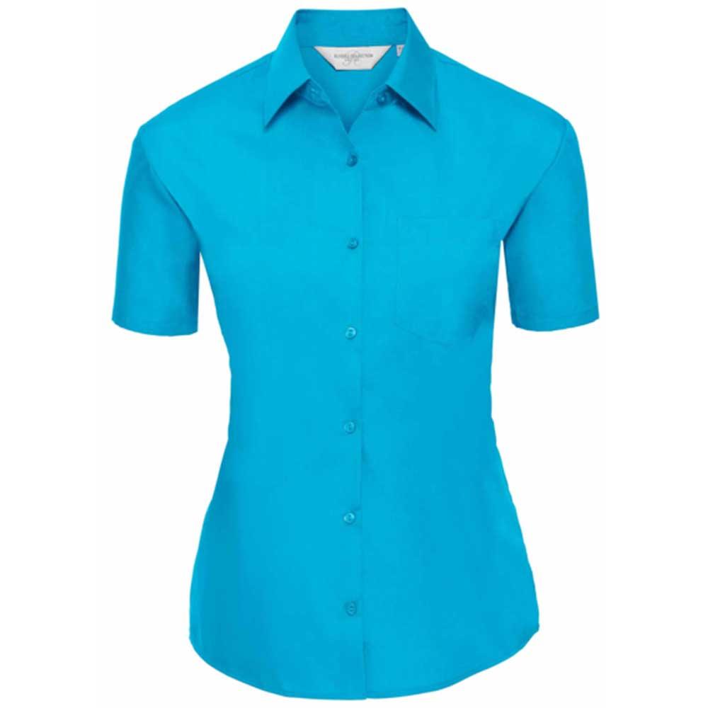 Skjorta Dam Russel kort ärm turquoise