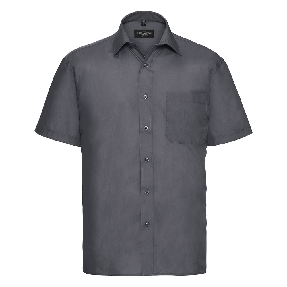 Skjorta Herr Russel kort ärm convoy grey
