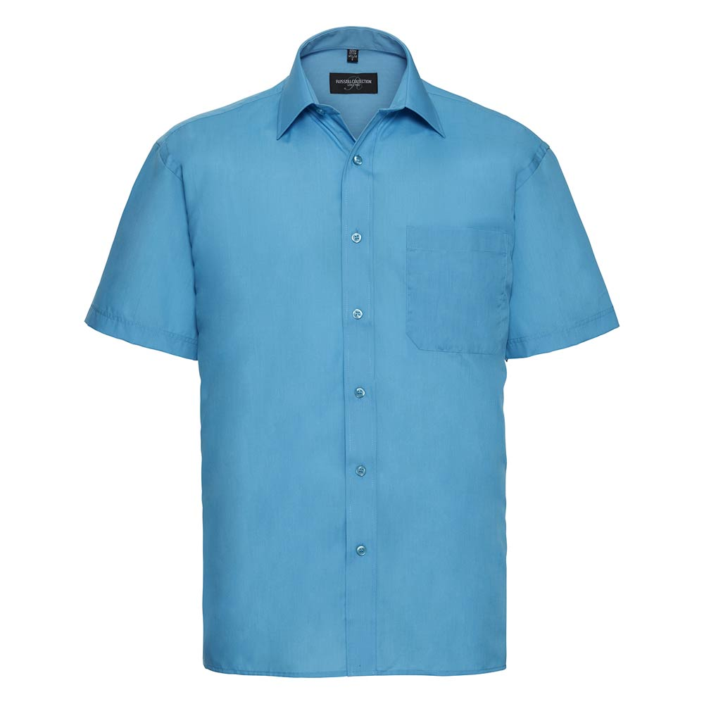 Skjorta Herr Russel kort ärm turquoise
