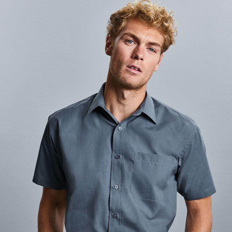 Skjorta Herr Russel kort ärm bottlegreen