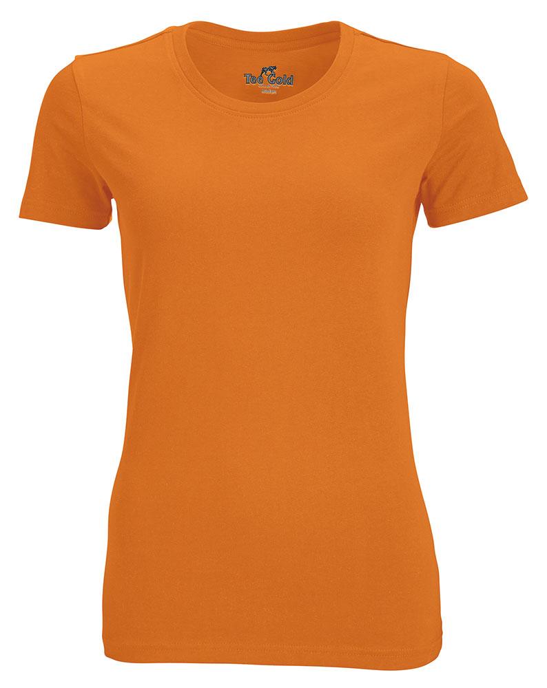 Ladies Round Neck Tee  Orange