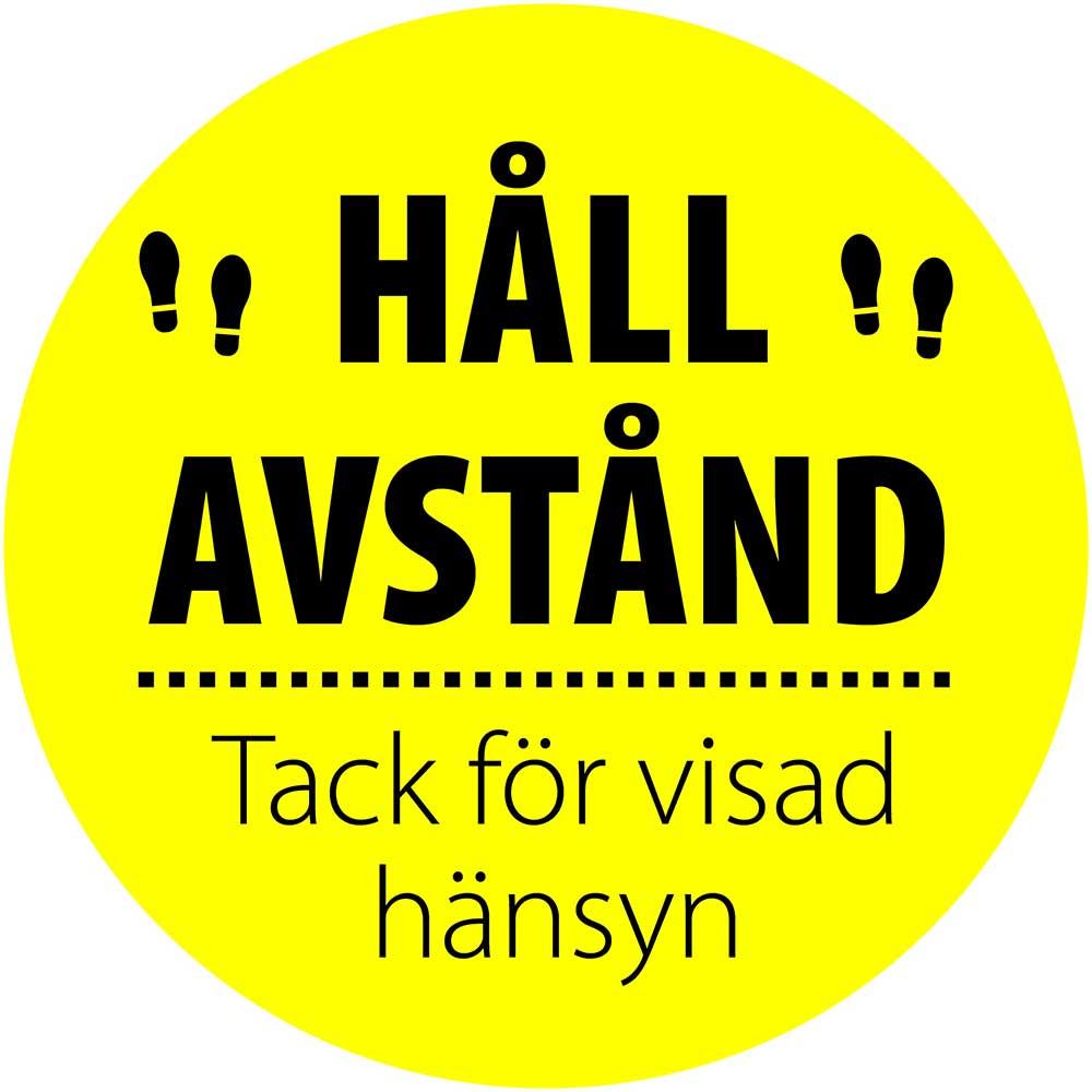 Golvdekal Håll Avstand Ø30 cm gul