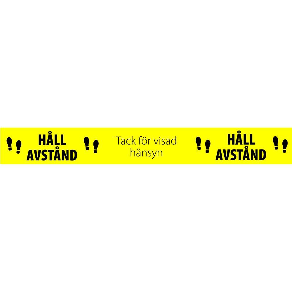 Golvdekal Håll Avstand 80x10 cm gul