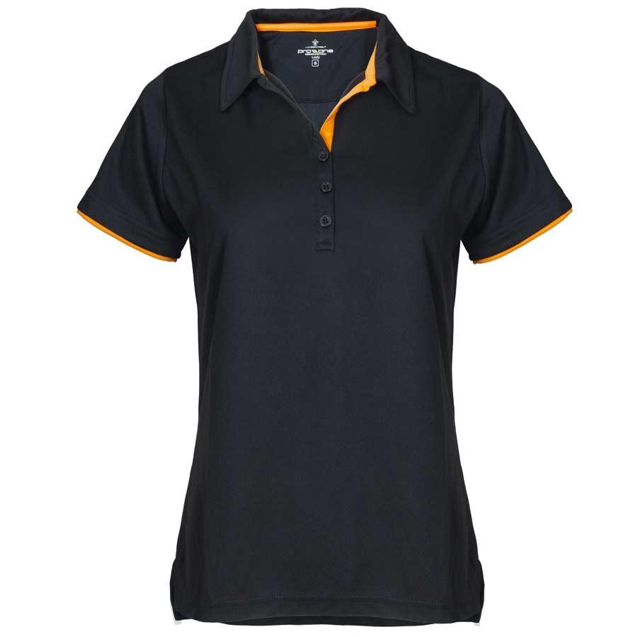 Dam Bowler Pique svart/orange