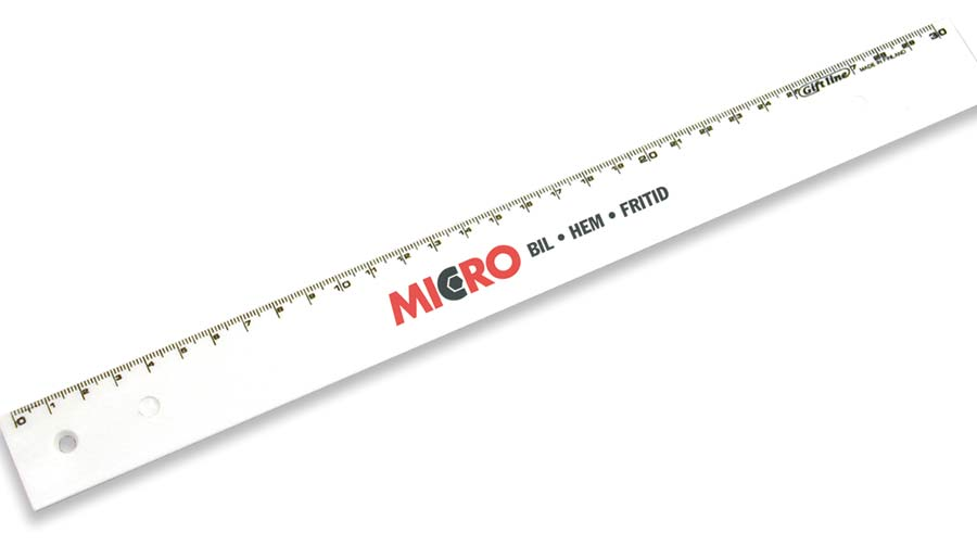 Linjal 30cm Vit